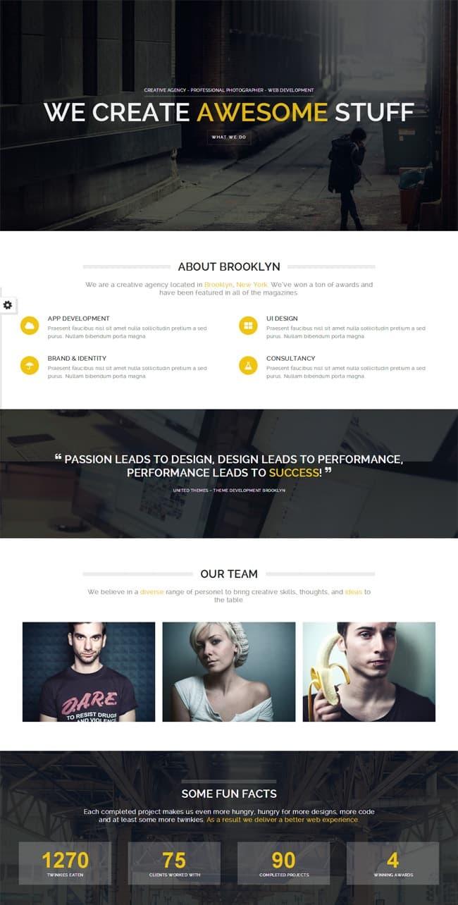 the one page WordPress theme Brooklyn