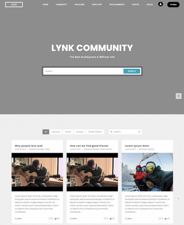 BuddyPress website demo created with Lynk theme