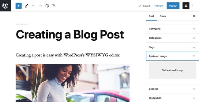 Built-in featured image option in Gutenberg editor in WordPress dashboard