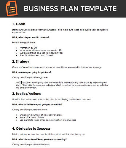 Business Plan Template for Sales Reps
