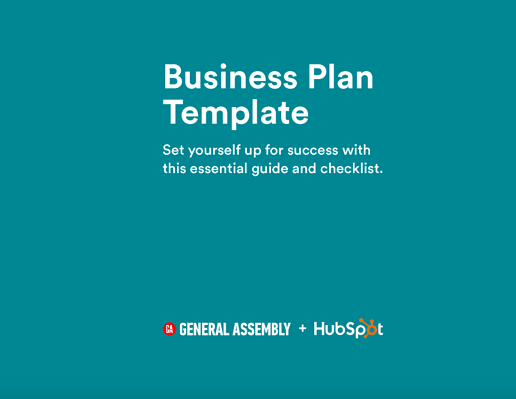 business plan template cover from General Assembly and HubSpot that reads: Set yourself up for success with this essential guide and checklist