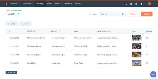 Screenshot van de HubDB-tabel achter de schermen