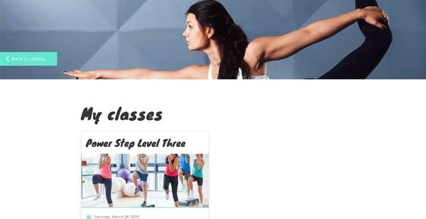 """Screenshot van de pagina """"My classes"""" van een yoga-website, gepersonaliseerd voor de gebruiker"""