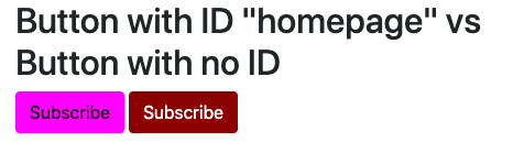 Button with ID name targeted by ID selector has different style than button with a class name, NOT an ID name