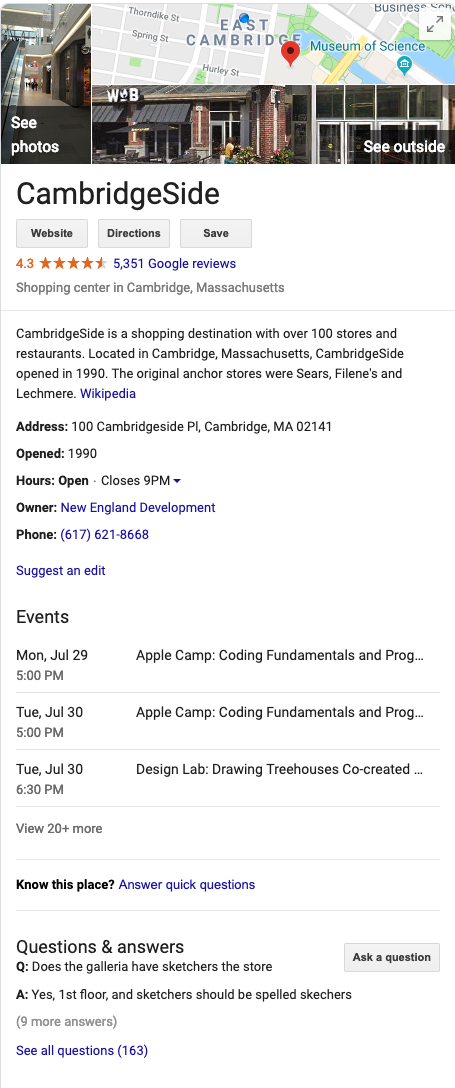 cambridgeside galleria google business listing
