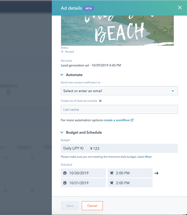 Ad campaign management screen showing Automate and Budget and Schedule options