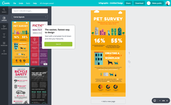creating infographics in Canva