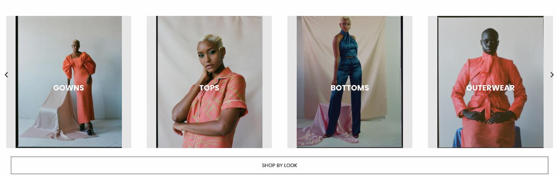Carousel slider on fashion website ALIÉTTE displays popular categories