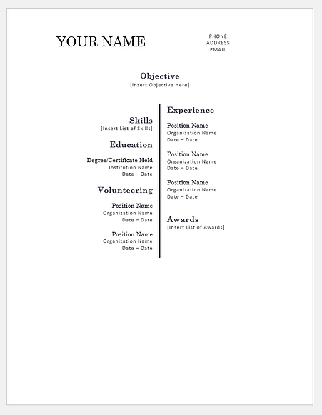 Centered Bar Resume