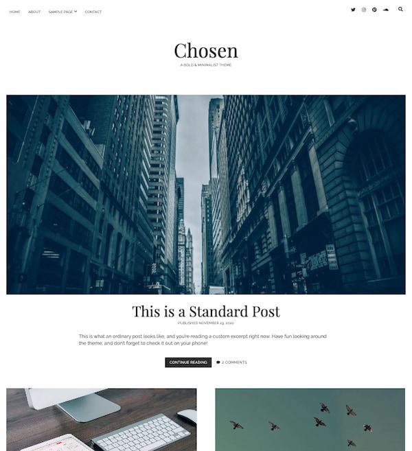 Chosen WordPress theme displays blog posts in minimalistic design