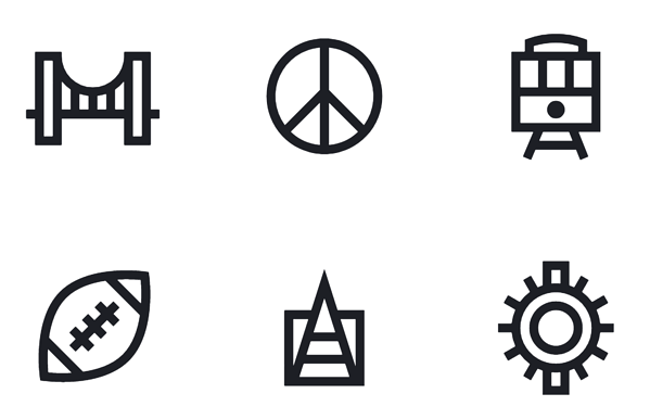 City based free icon set