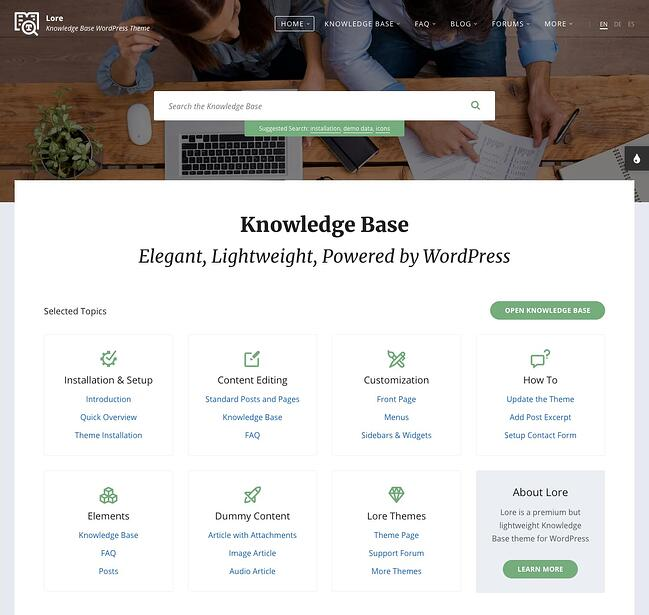 Classic Knowledge Base demo created with Lore theme for WordPress