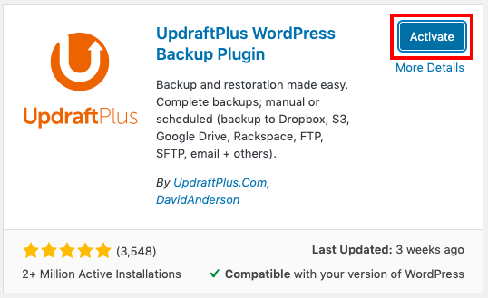 Click Active button to complete installing a plugin from WordPress directory