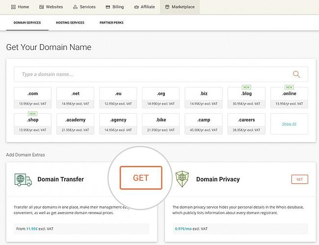 Click Domain Transfer in SiteGround user area when converting Wix to wordPress