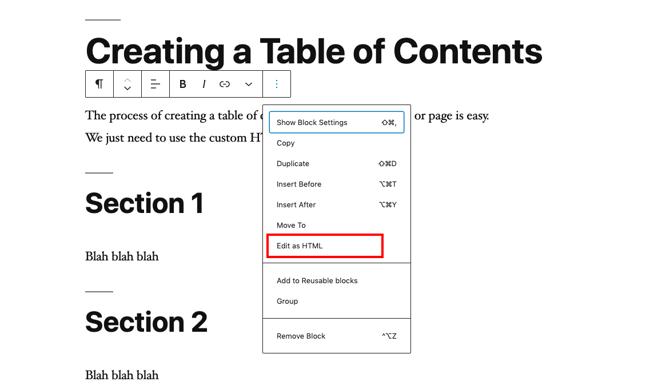 Click Edit as HTML in WordPress editor-1