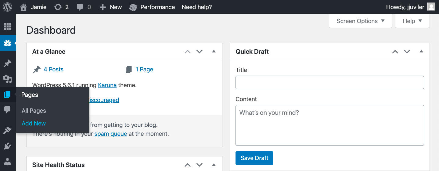 Click Pages > Add New in WP dashboard to begin manually converting wix pages to wordpress