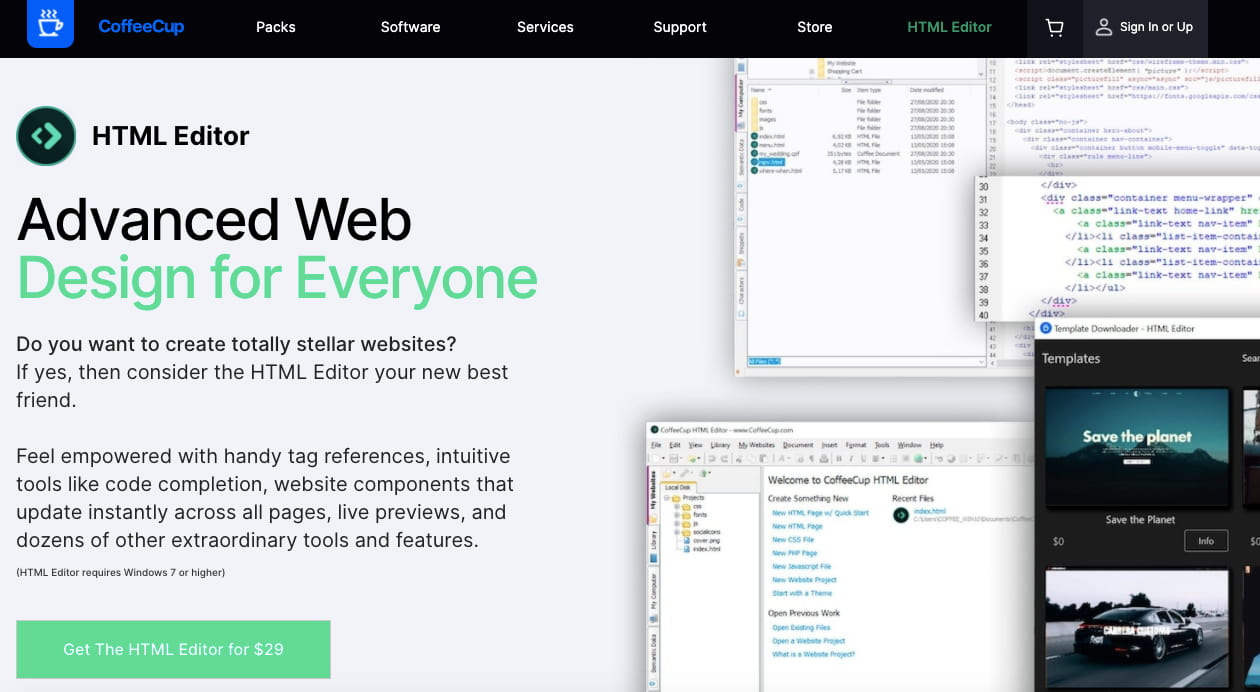 CoffeeCup WYSIWYG HTML editor offers two live preview options