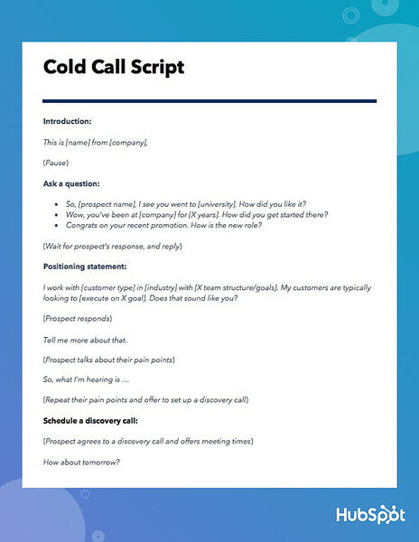 Cold Call Script Template