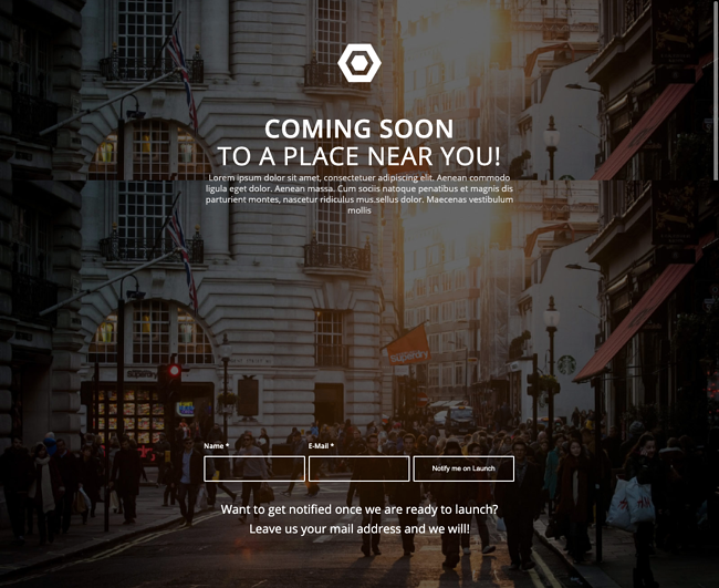 Coming Soon demo of Enfold WordPress theme