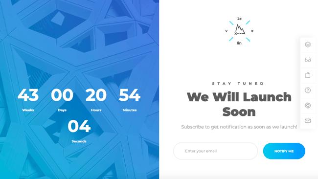 Coming soon demo of Jevelin WordPress theme