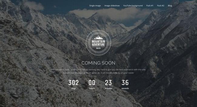 Coming soon demo of Mountain WordPress theme