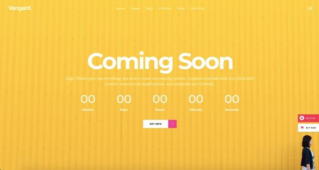 Coming soon demo of Vangard WordPress theme