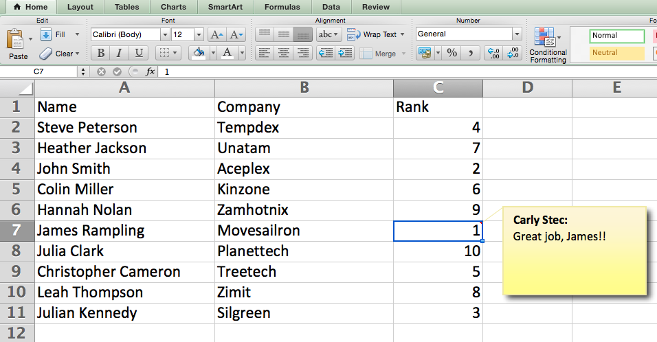 Add a comment to a cell in Excel