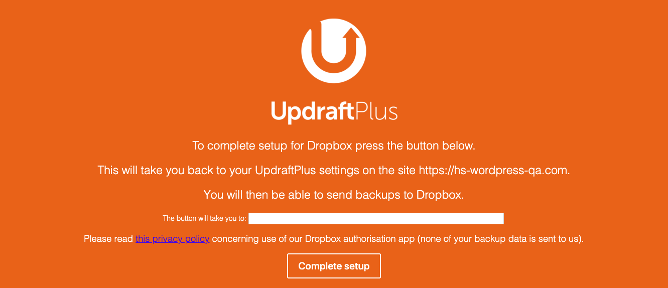 Complete setup for Dropbox with UpdraftPlus plugin