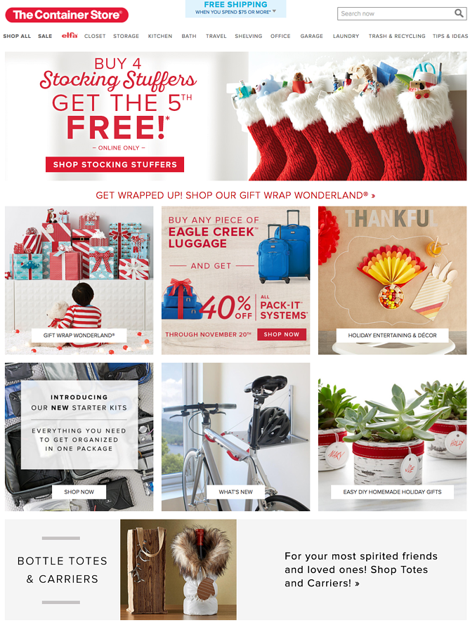 Container Store Holiday Homepage