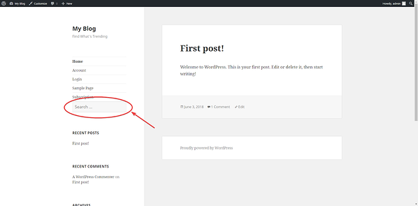 Search box included in sidebar of WordPress site can help reduce bounce rate
