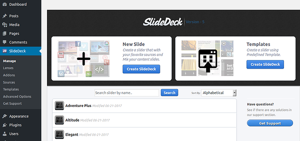 WordPress slider plugin: SlideDeck
