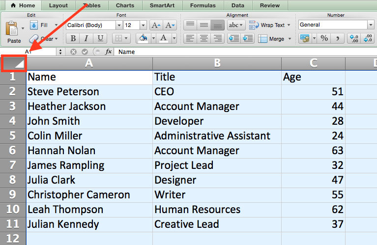 Quickly select rows, columns, or the whole Excel spreadsheet