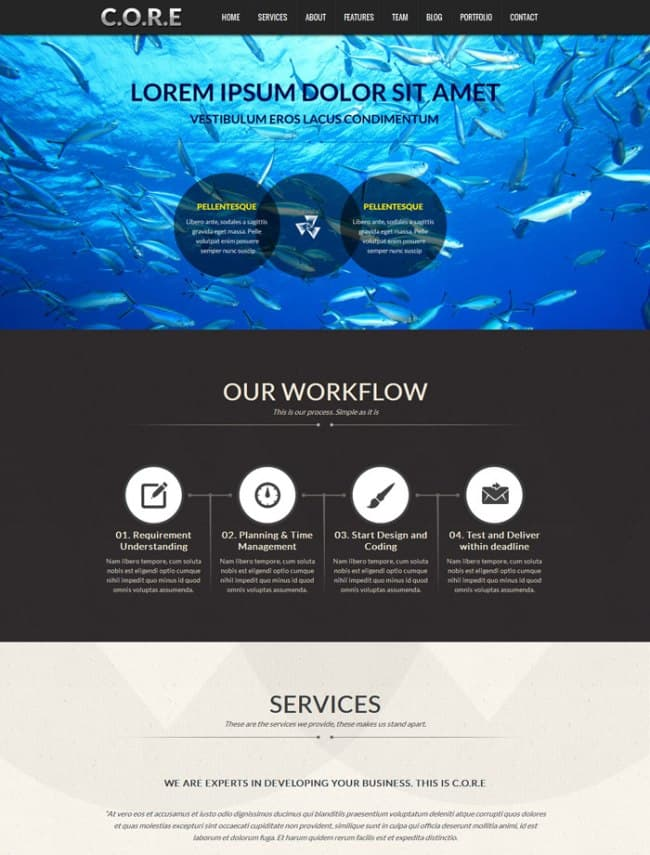 Core one page WordPress theme