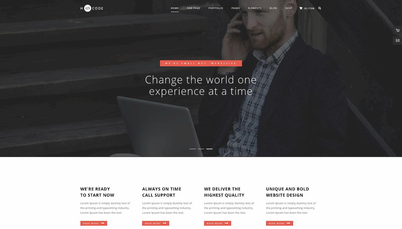 Corporate homepage demo of H-code wordpress theme