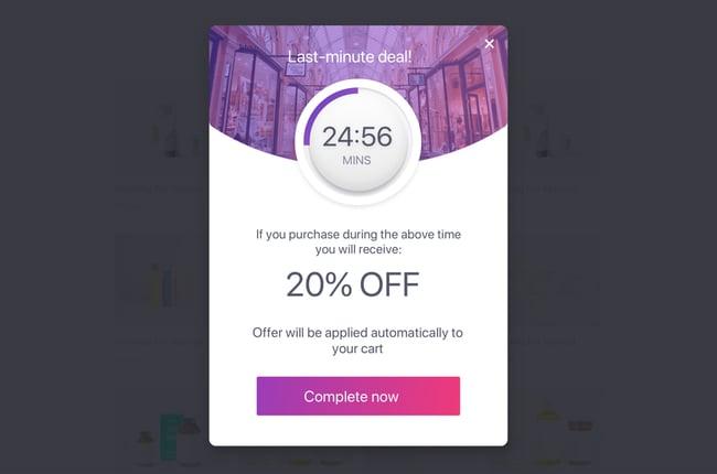 Countdown offer popup added via Beeketing plugin