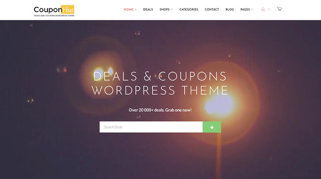 CouponHut theme demo features affiliate products and sales