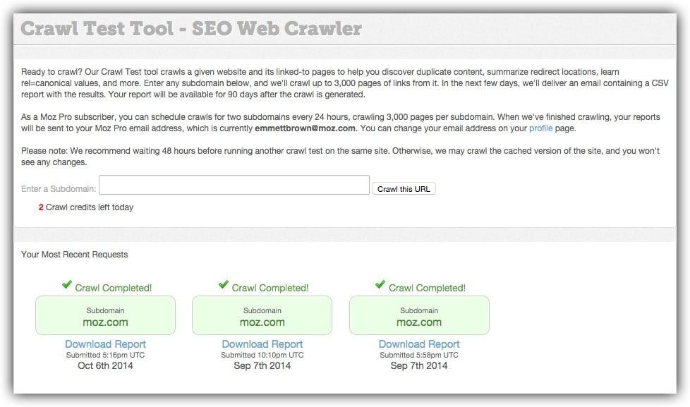 Moz's Crawl Test tool for analyzing website links
