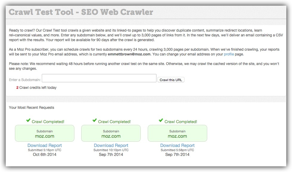 Moz's Crawl Test tool for analyzing website links