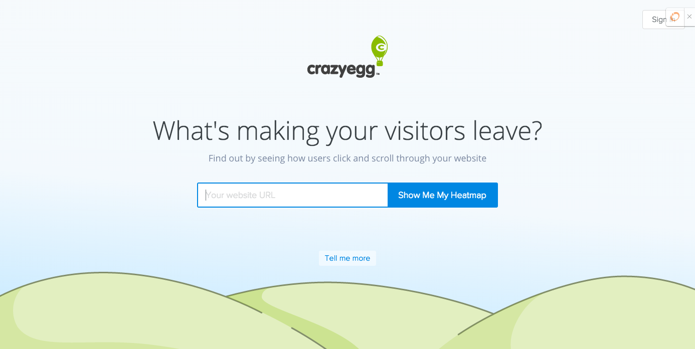 Homepage of CrazyEgg