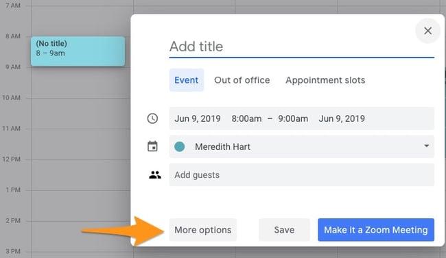 "Create a new meeting in Google Calendar using the ""create"" button"