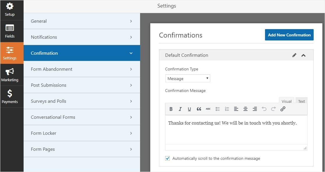 Creating confirmation message for appointment bookings via WPForms plugin for WordPress
