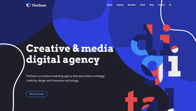 Creative agency one-page demo site available with fast WordPress theme TheGem