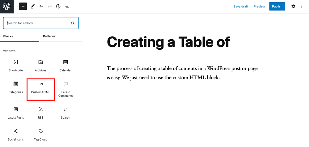 Custom HTML block in Gutenberg editor