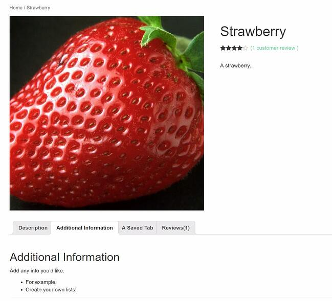 Custom product tabs for product labelled _Strawberry_ addded via Custom Tabs for WooCommerce plugin-1