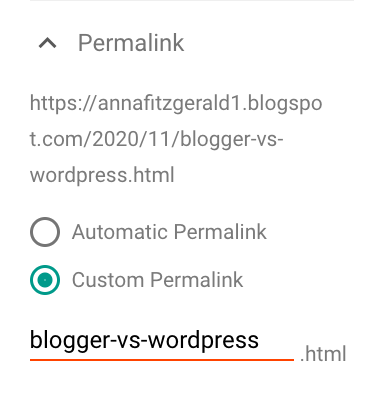 Customizing a permalink in Blogger