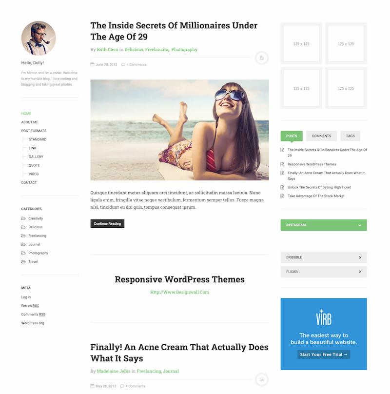 DW Minion free minimalist WordPress theme demo