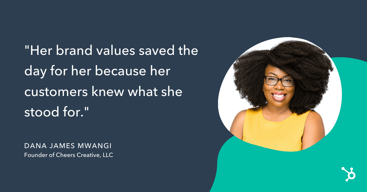 Dana James Mwangi quote, her brand values saved the day for her because her customers knew what she stood for
