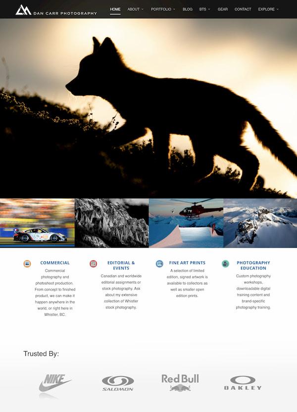 Dann Carr Photography website built with Divi theme