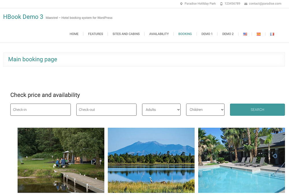 Dedicated search form for campsite booking created via HBook plugin