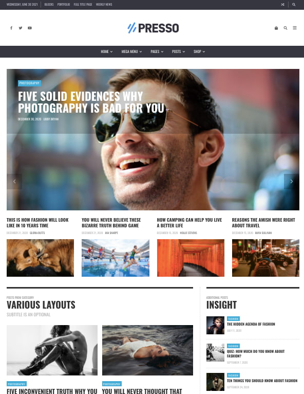Default demo of best content sharing WordPress theme PRESSO features hero image and blog sidebar
